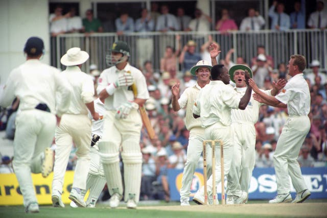 Devon Malcolm celebrates removing Gary Kirsten for a duck