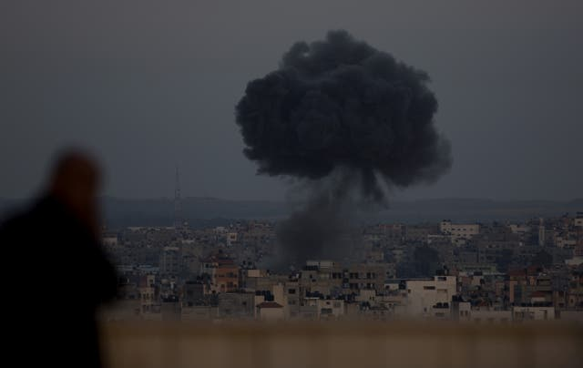 Smoke rises from an explosion after an Israeli airstrike in Gaza City