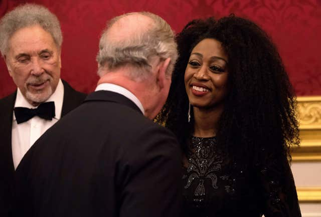 Charles meets singers Tom Jones and Beverley Knight (John Phillips/PA)