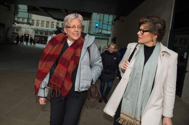 Journalists Carrie Gracie (left) leaves BBC Broadcasting House in London with Kate Silverton after she turned down a £45,000 rise (Dominic Lipinski/PA)