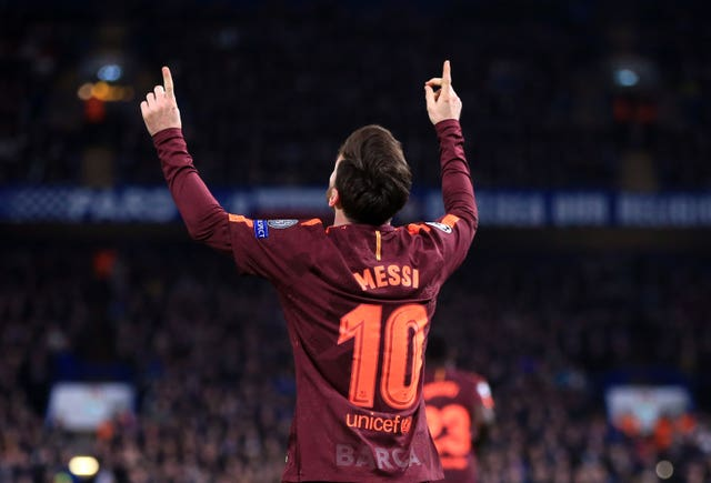 Barcelona's Lionel Messi scored his first goal in nine meetings with Chelsea in the first leg