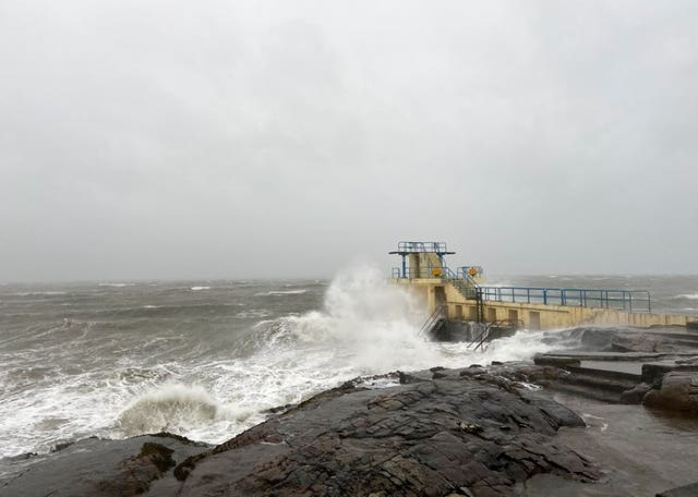 A pier in Salthill, Ireland, as Storm Brendan sweeps across Ireland and the UK with winds gusting up to 80mph (@GalwayWalks/Twitter)