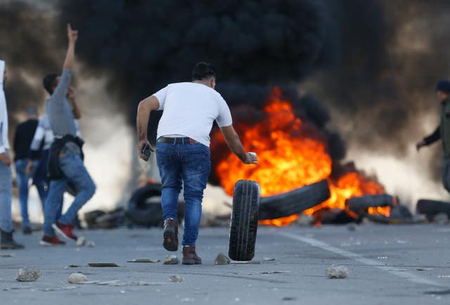 Palestinian protesters in the West Bank