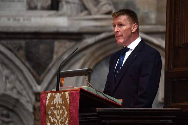 Astronaut Tim Peake speaking at the memorial service