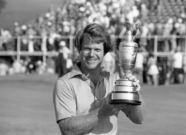 Tom Watson pictured after his second Open Championship win at Turnberry in 1977