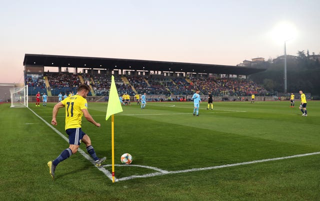 Scotland's Ryan Fraser takes a corner in San Marino