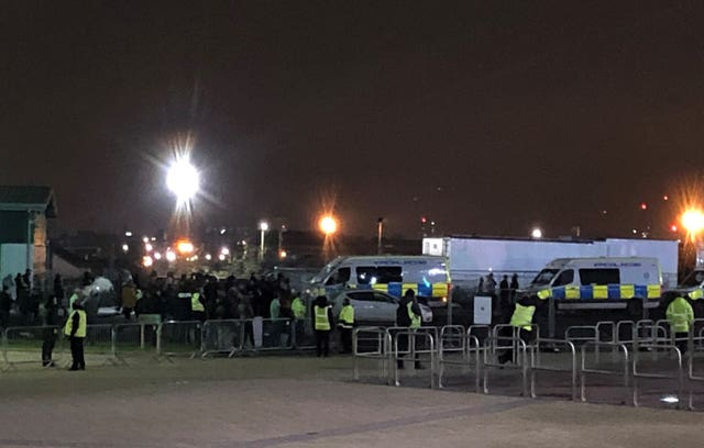 There was a heavy police presence at Celtic Park