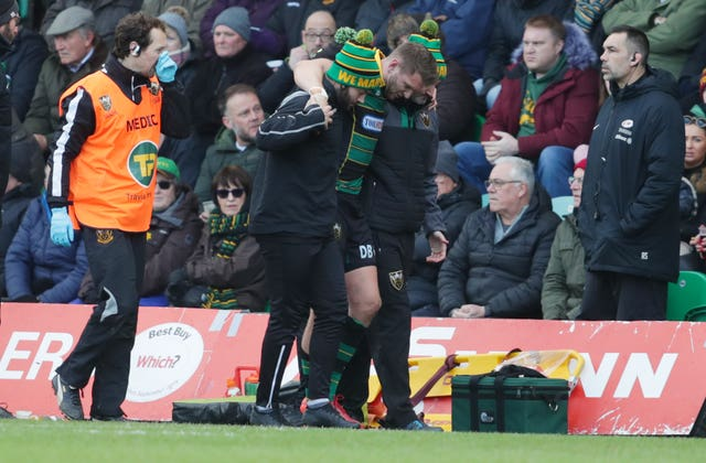 Dan Biggar was injured playing for Northampton last weekend