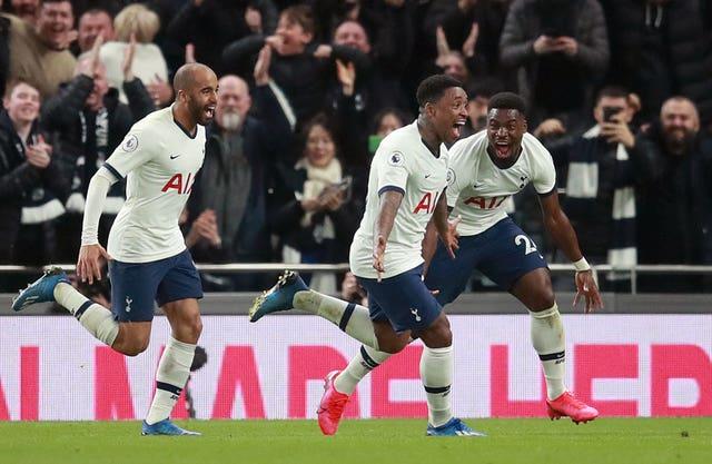 Steven Bergwijn (centre) celebrates scoring on his debut for Tottenham in a 2-0 win against Premier League champions Manchester City