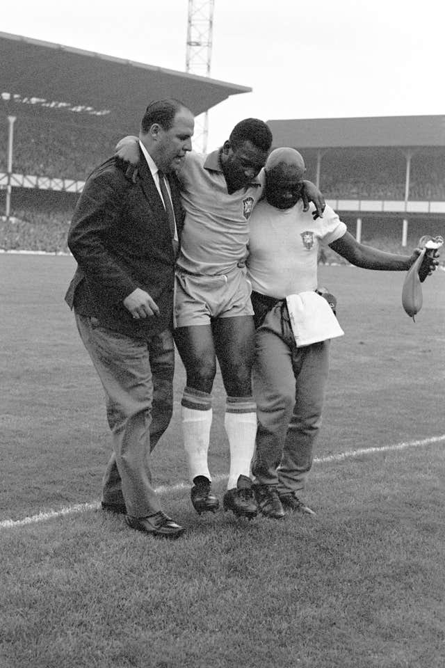 Pele hobbled out of the 1966 World Cup in England and vowed never to play international football again