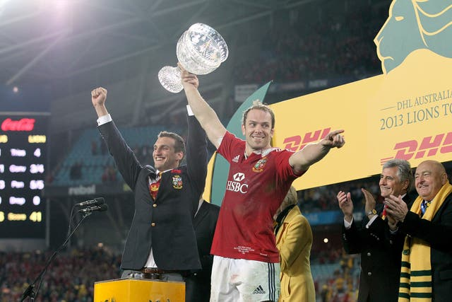 Sam Warburton, left, and Alun Wyn Jones lift the trophy after the British and Irish Lions' series win over Australia in 2013