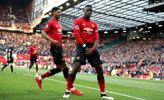 Paul Pogba celebrates scoring Manchester United's second goal of the game in his side's 2-1 win against West Ham at Old Trafford