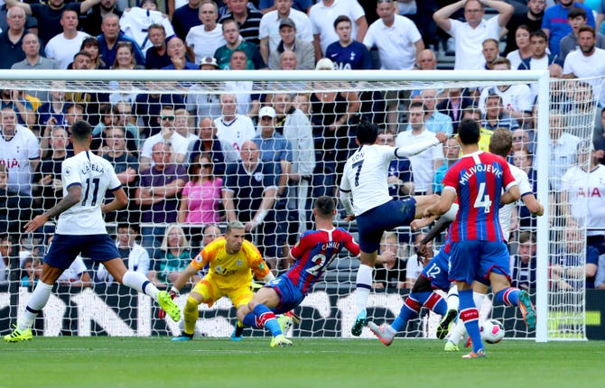 Son Heung-min (third right) scored his first goals of the season for Spurs in the 4-0 win over Crystal Palace