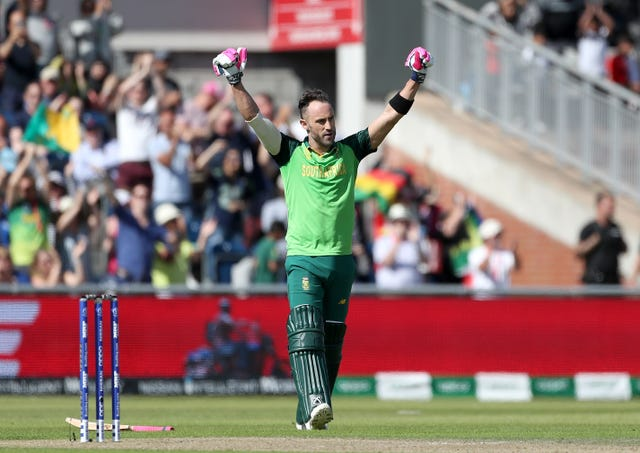 Faf Du Plessis celebrates his century