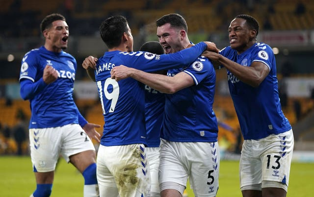 Michael Keane (second right) celebrates his winner for Everton