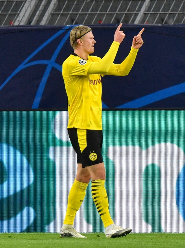 Erling Haaland celebrates his first goal against Club Brugge