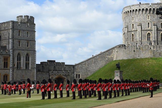 Guardsman stand in formation at Windsor Castle