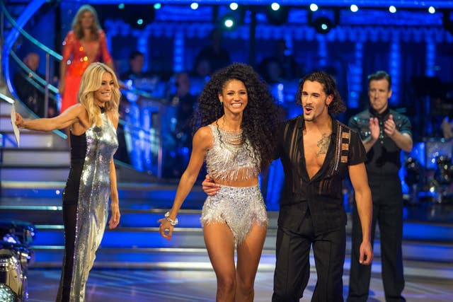 Tess Daly (left) with Vick Hope and Graziano Di Prima