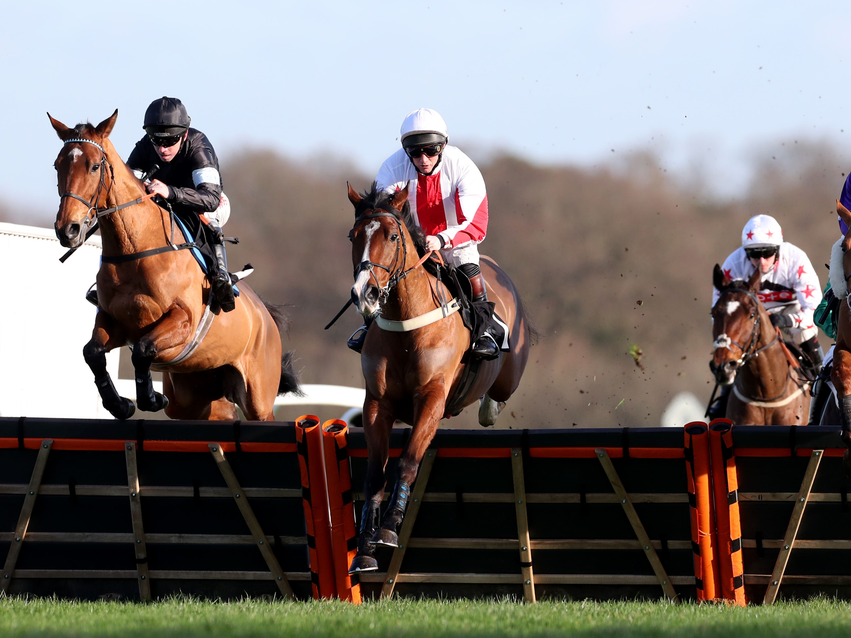Goshen (red and white colours) is in fine form ahead of the Champion Hurdle following his easy victory at Wincanton (Bradley Collyer/PA)