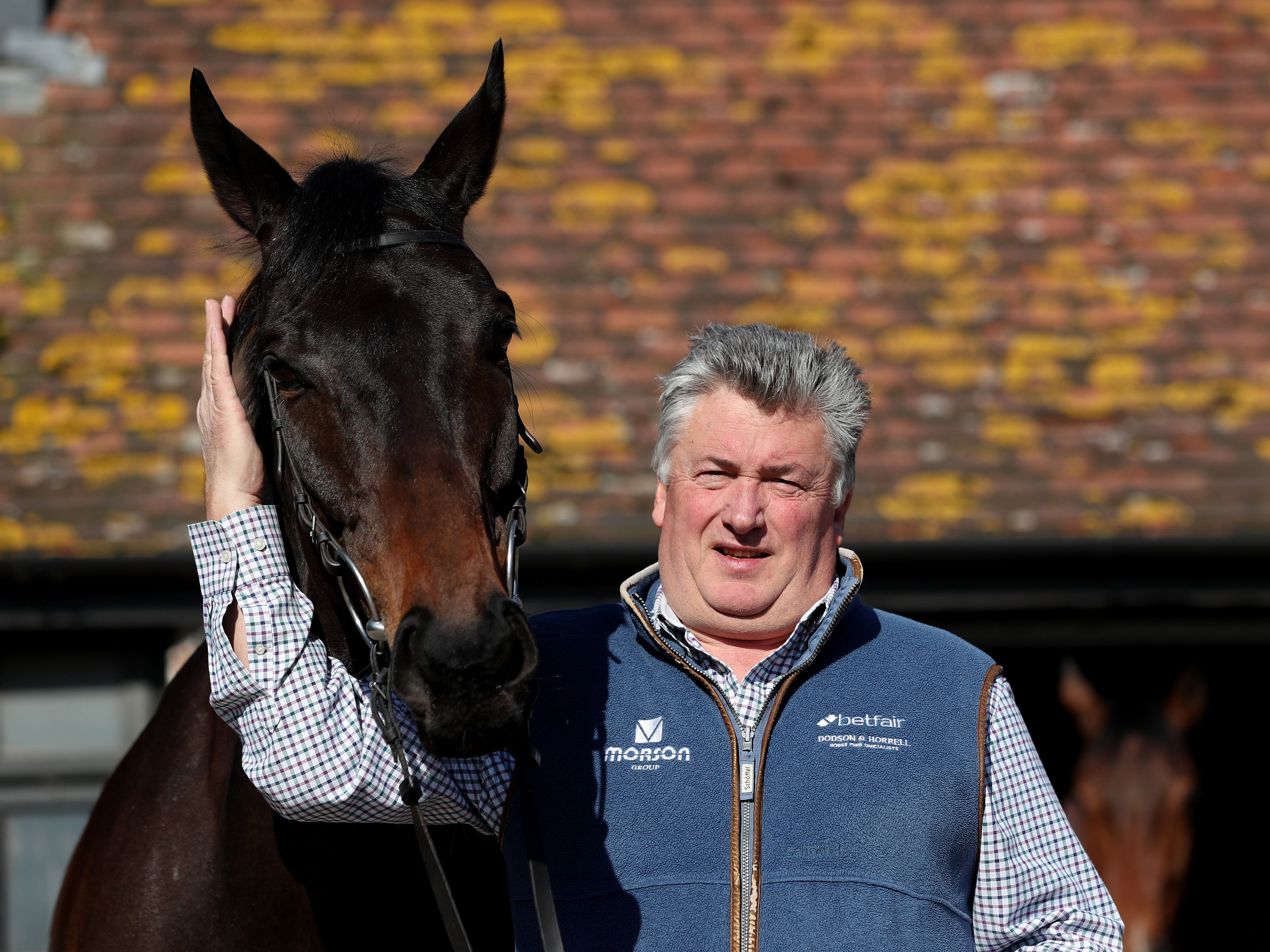 Paul Nicholls with this year's big Cheltenham Gold Cup hope Clan Des Obeaux (David Davies/PA)