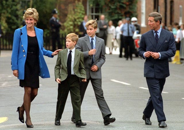 The Prince and Princess of Wales with their sons Prince Harry and Prince William in 1995 (PA)