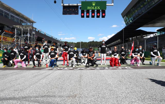 Six drivers chose to stand as Lewis Hamilton led the