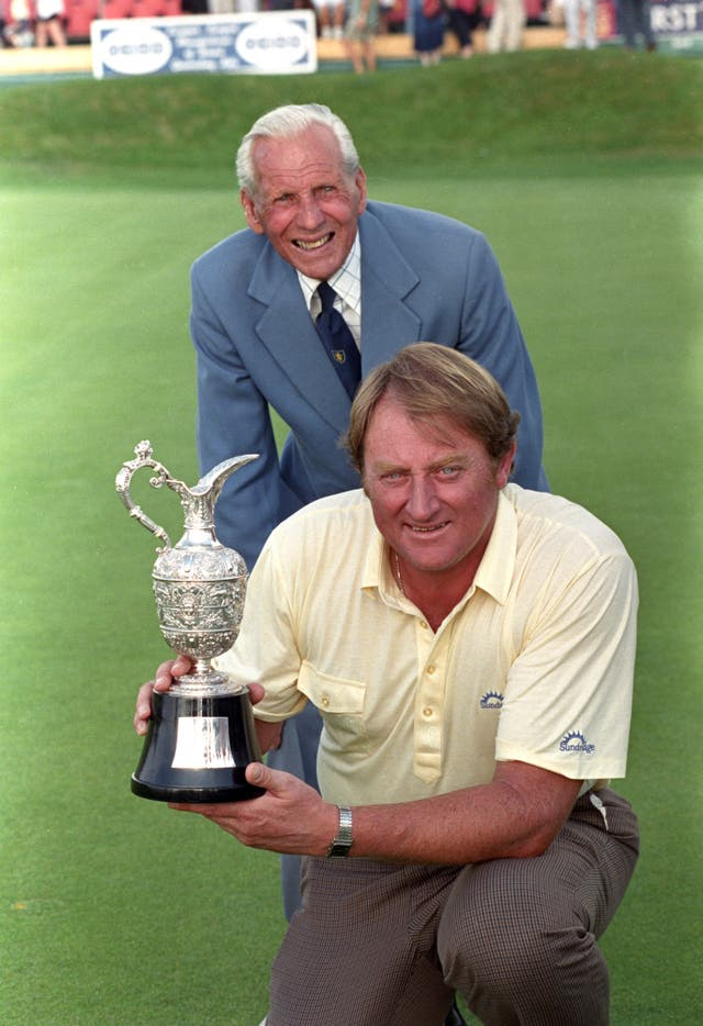 Brian Barnes (front) with father-in-law Max Faulkner