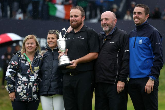 Shane Lowry celebrates with his family