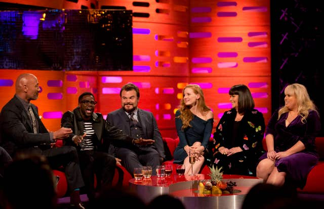 (left to right) Dwayne Johnson, Kevin Hart, Jack Black, Jessica Chastain, and Dawn French during filming of the Graham Norton Show at The London Studios, to be aired on BBC One on Friday.