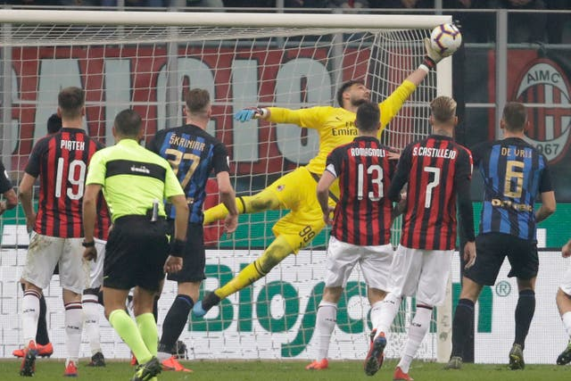 AC Milan goalkeeper Gianluigi Donnarumma was kept busy at the San Siro
