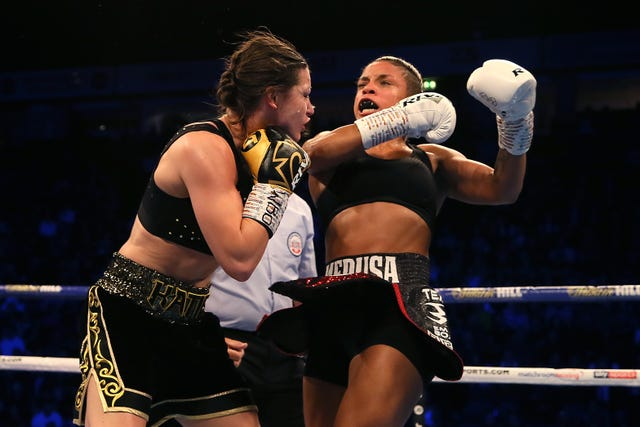 Katie Taylor, left, defeated Christina Lindardatou last time out (Richard Sellers/PA)