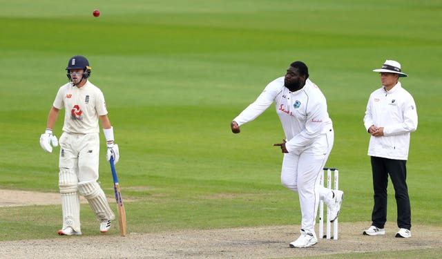 West Indies' Rahkeem Cornwall bowls during day one