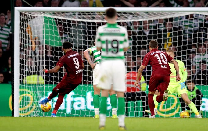 Billel Omrani scored twice for Cluj at Celtic Park