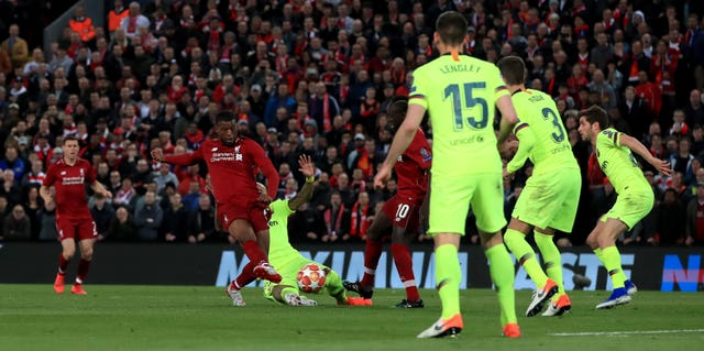 Georginio Wijnaldum scores against Barcelona at Anfield