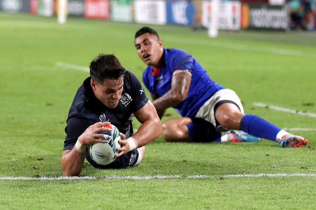Scotland's Sean Maitland touches down for the opening try