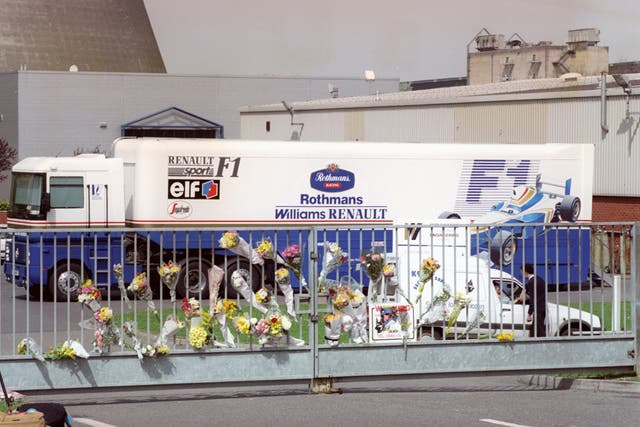 Floral tributes at the gate of the Williams-Renault headquarters at Didcot, Oxfordshire, after the death of Ayrton Senna