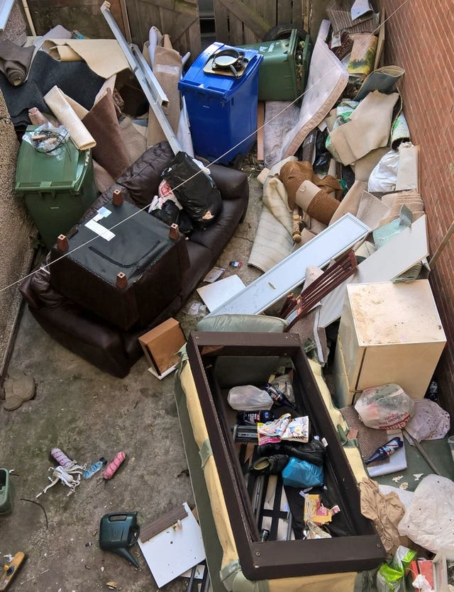The yard of a property in Blyth, Northumberland, which belongs to Bariana (Police/PA)