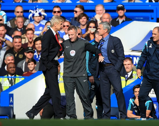 Jose Mourinho and Arsene Wenger (left) clash on the touchline. (PA)