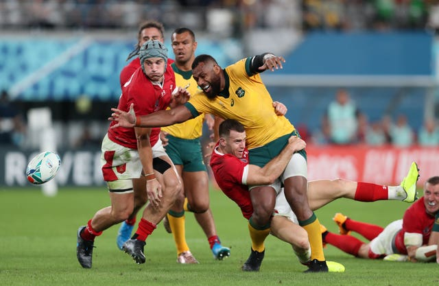 Samu Kerevi was unhappy with the referee's decision