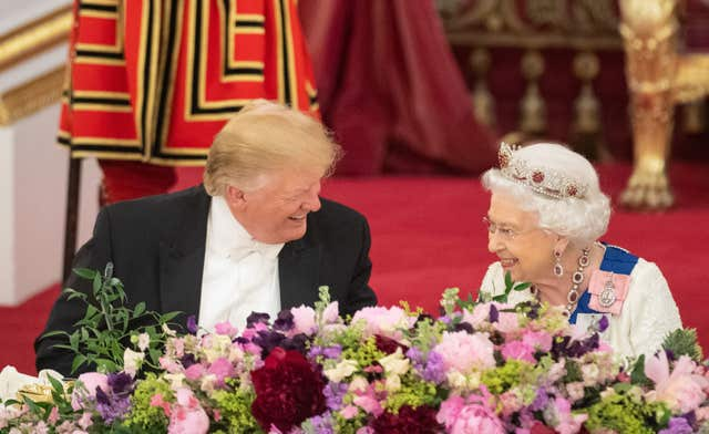 US President Donald Trump and the Queen during the state banquet at Buckingham Palace