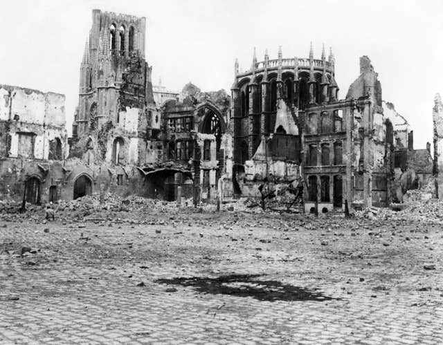 Ruined buldings in Ypres, Belgium