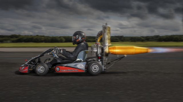 Tom Bagnall in his jet powered go kart