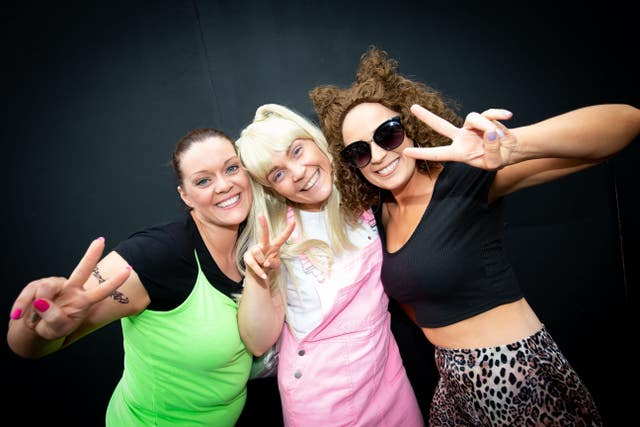 Spice Girls fans Liz Devine, Rebecca Byrne and Laura Reddy arrive at Croke Park stadium in Dublin