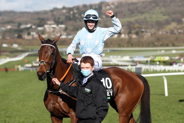 Rachael Blackmore and Honeysuckle after winning the Champion Hurdle at Cheltenham
