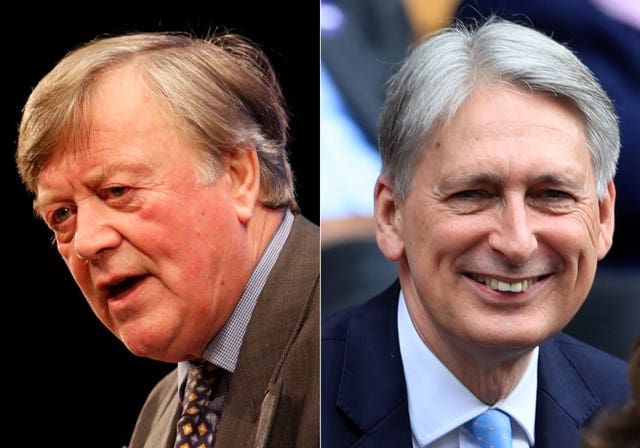 (left to right) former chancellors Ken Clarke and Philip Hammond