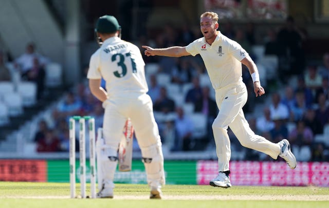 Stuart Broad celebrates a wicket during last year's Ashes series