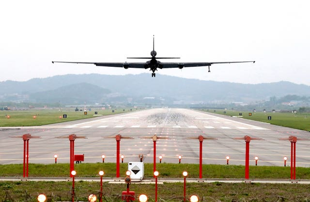 A US Air Force U-2 spy plane prepares to land as South Korea (Kwon Joon-woo/AP)
