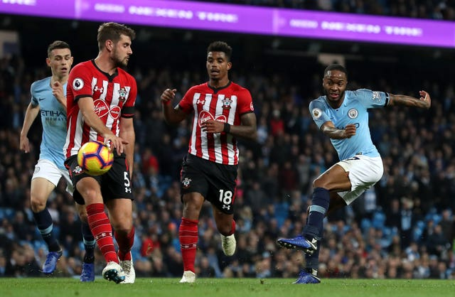Raheem Sterling, right, was on top form against the Saints on Sunday