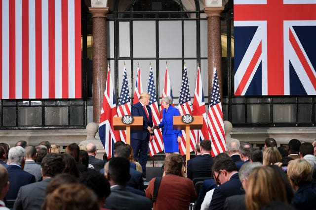 Prime Minister Theresa May and US President Donald Trump during their joint press conference