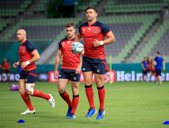Ben Youngs tests out the humidity during training at Kobe Misaki Stadium